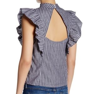 CAD Striped Ruffle Mock Neck Cut Out Back Top